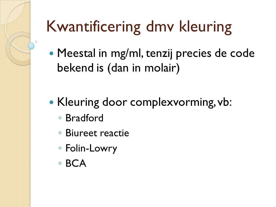 Kwantificering dmv kleuring Meestal in mg/ml, tenzij precies de code bekend is (dan in molair) Kleuring door complexvorming, vb: ◦ Bradford ◦ Biureet