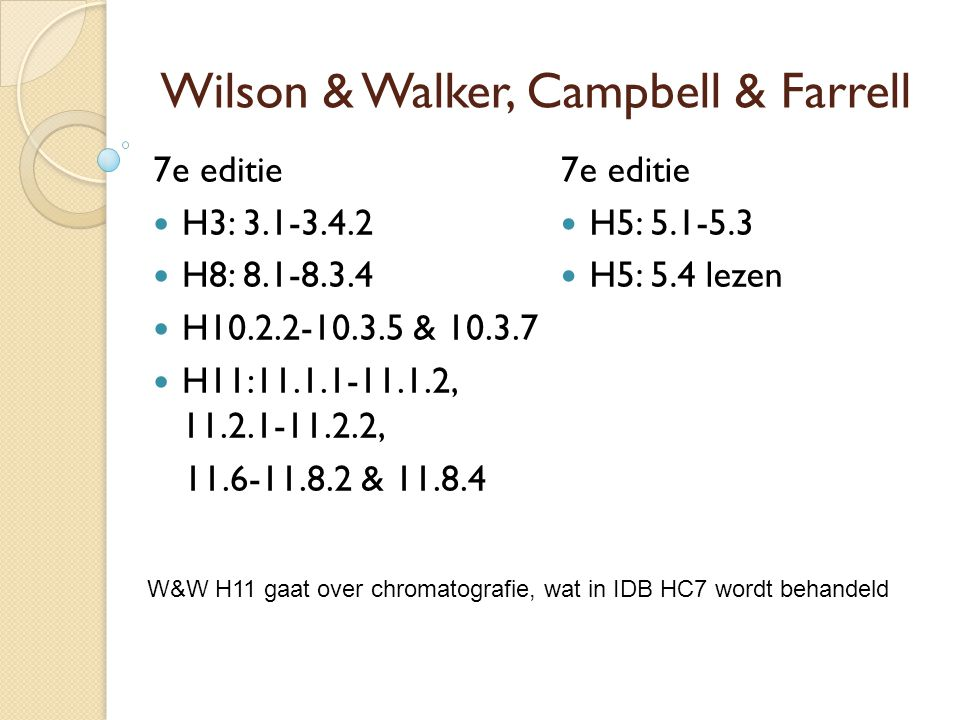 Wilson & Walker, Campbell & Farrell 7e editie H5: 5.1-5.3 H5: 5.4 lezen 7e editie H3: 3.1-3.4.2 H8: 8.1-8.3.4 H10.2.2-10.3.5 & 10.3.7 H11:11.1.1-11.1.