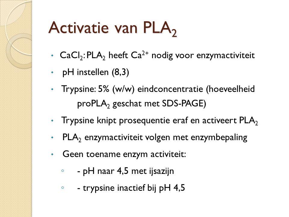 Activatie van PLA 2 volgen met bepaling van enzymactiviteit Enzymactiviteit Actief PLA 2 Vrijgekomen vetzuur titreren met loog t = 1 t = 4 t = 3 t = 2 Loog (mmol) Tijd (min.)