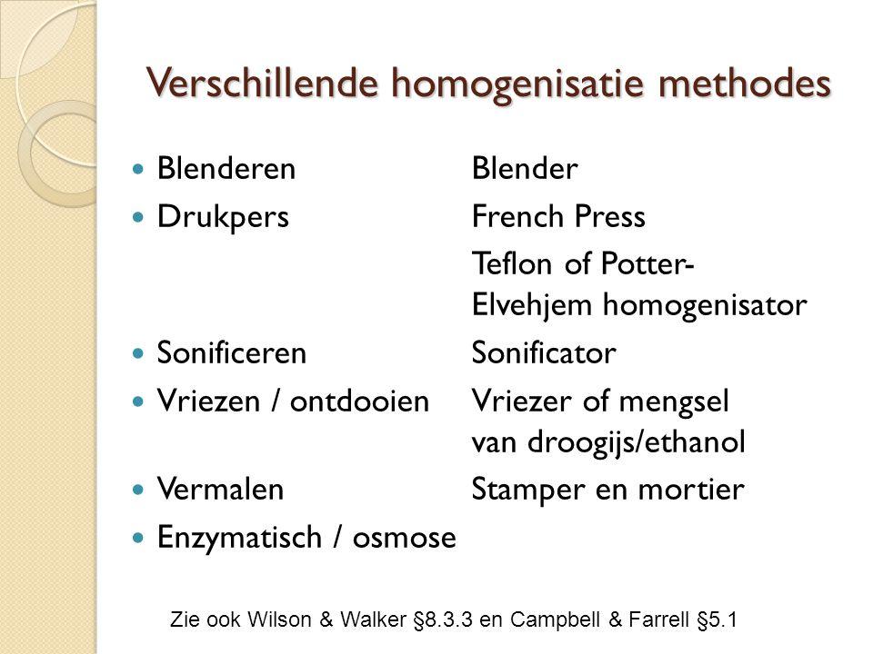 Verschillende homogenisatie methodes BlenderenBlender Drukpers French Press Teflon of Potter- Elvehjem homogenisator SonificerenSonificator Vriezen / ontdooienVriezer of mengsel van droogijs/ethanol VermalenStamper en mortier Enzymatisch / osmose Zie ook Wilson & Walker §8.3.3 en Campbell & Farrell §5.1