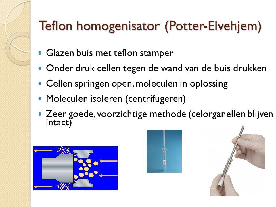 Teflon homogenisator (Potter-Elvehjem) Glazen buis met teflon stamper Onder druk cellen tegen de wand van de buis drukken Cellen springen open, moleculen in oplossing Moleculen isoleren (centrifugeren) Zeer goede, voorzichtige methode (celorganellen blijven intact)