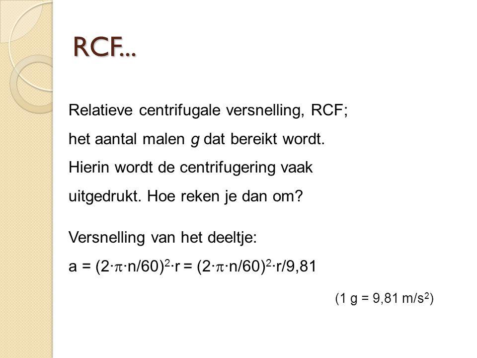 Relatieve centrifugale versnelling, RCF; het aantal malen g dat bereikt wordt.
