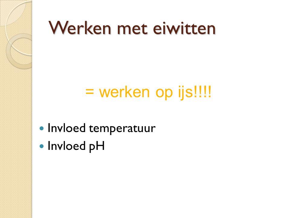 Werken met eiwitten Invloed temperatuur Invloed pH = werken op ijs!!!!