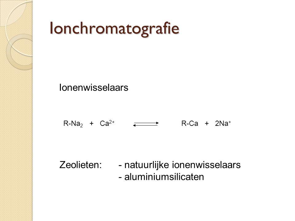 Ionenwisselaars R-Na 2 + Ca 2+ R-Ca + 2Na + Zeolieten:- natuurlijke ionenwisselaars - aluminiumsilicaten Ionchromatografie