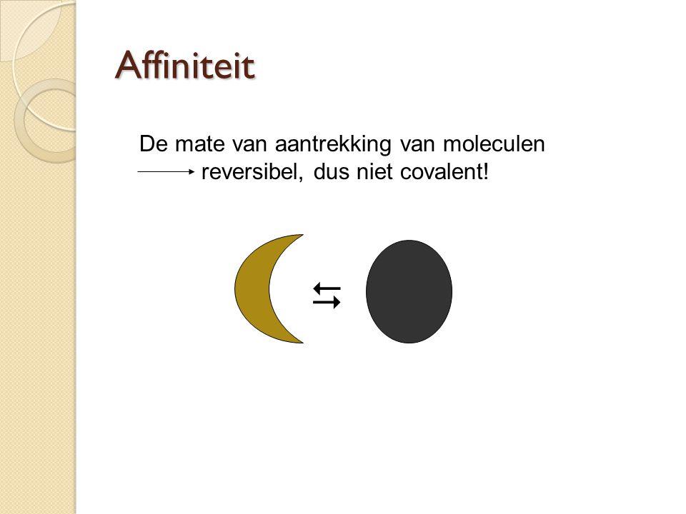 Affiniteit De mate van aantrekking van moleculen reversibel, dus niet covalent! 