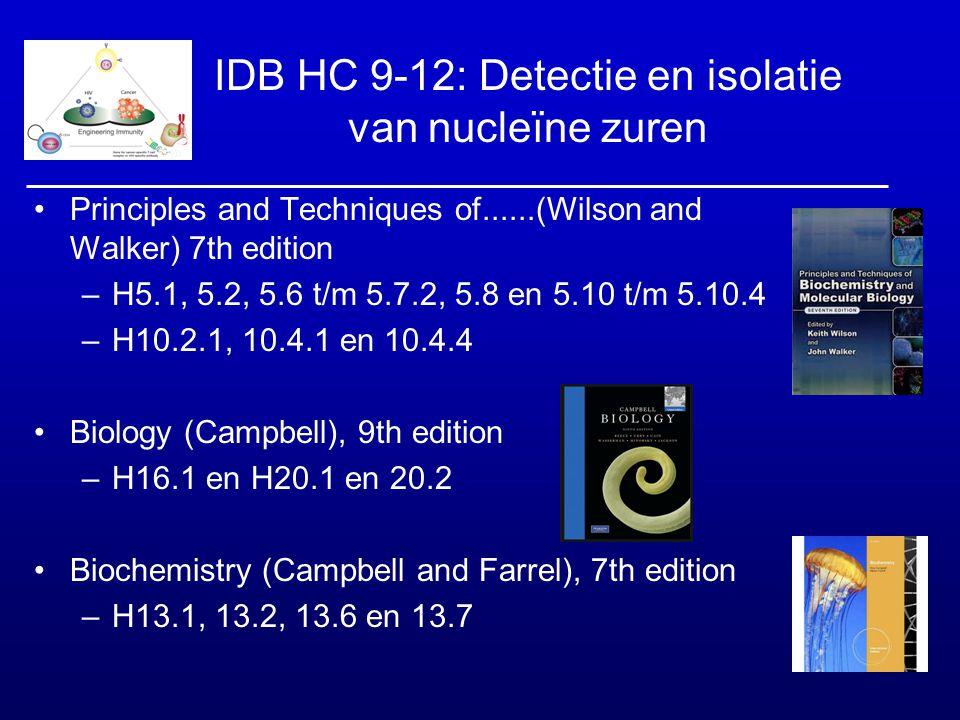 IDB HC 9-12: Detectie en isolatie van nucleïne zuren Principles and Techniques of......(Wilson and Walker) 7th edition –H5.1, 5.2, 5.6 t/m 5.7.2, 5.8