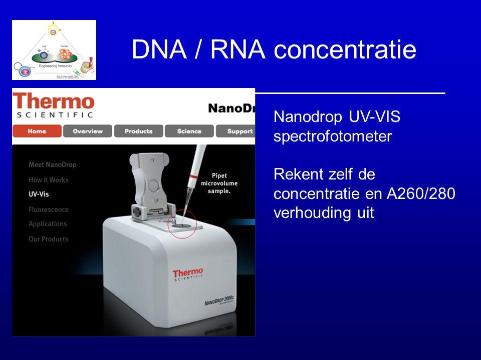 DNA / RNA concentratie Nanodrop UV-VIS spectrofotometer Rekent zelf de concentratie en A260/280 verhouding uit