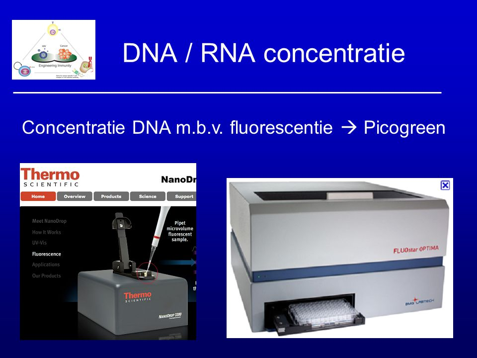 DNA / RNA concentratie Concentratie DNA m.b.v. fluorescentie  Picogreen