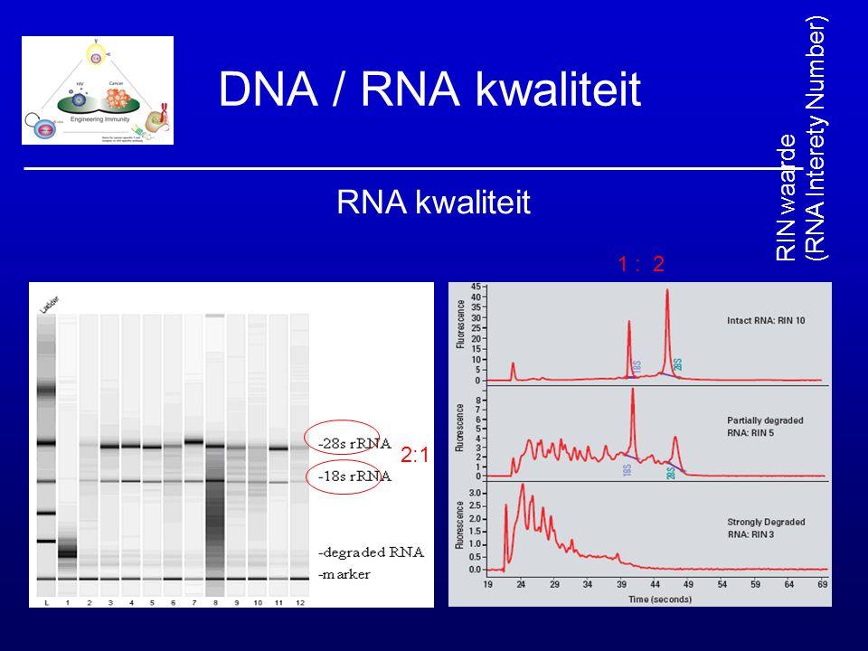 DNA / RNA kwaliteit RNA kwaliteit 2:1 1 : 2 RIN waarde (RNA Interety Number)