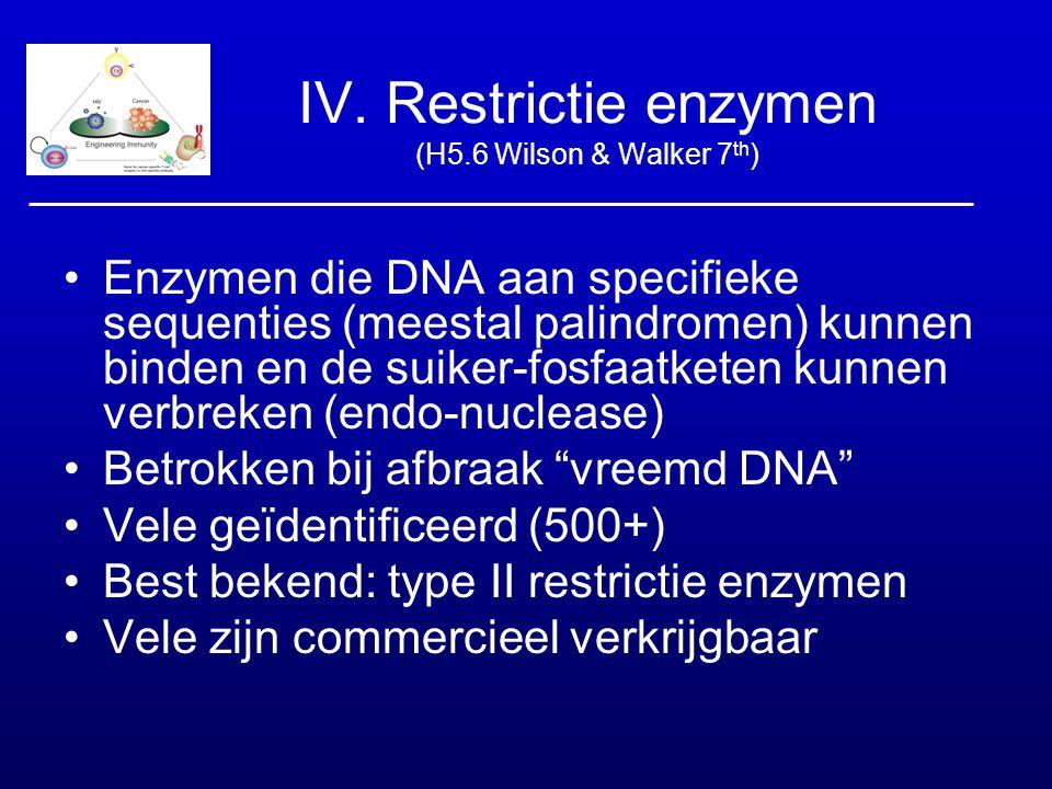 IV. Restrictie enzymen (H5.6 Wilson & Walker 7 th ) Enzymen die DNA aan specifieke sequenties (meestal palindromen) kunnen binden en de suiker-fosfaat