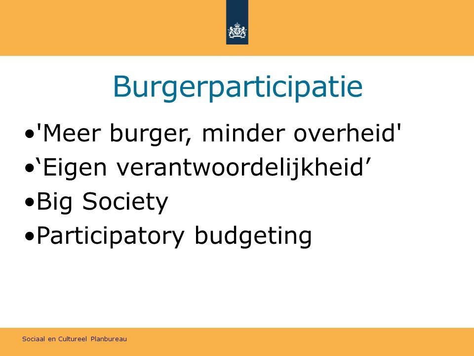 Sociaal en Cultureel Planbureau Burgerparticipatie Meer burger, minder overheid 'Eigen verantwoordelijkheid' Big Society Participatory budgeting