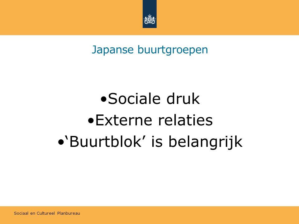 Sociaal en Cultureel Planbureau Buurtgroepen in Japan en Nederland JapanNederland AantalVeelWeinig OmvangKlein (een paar honderd huishoudens) Groot Participatiegraad70%Paar procent (10% in Enschede) InkomenContributiesSubsidies