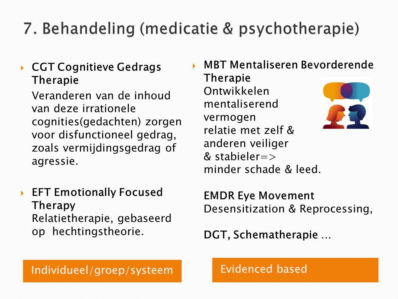 Individueel/groep/systeem Evidenced based  CGT Cognitieve Gedrags Therapie Veranderen van de inhoud van deze irrationele cognities(gedachten) zorgen voor disfunctioneel gedrag, zoals vermijdingsgedrag of agressie.