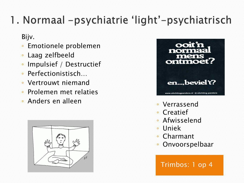 As 1 klinische stoornissen ( meer op symptoomniveau ) Meest voorkomend : Stemmings -& middelen stoornissen Aandachtstekort & gedragsstoornis sen As 2 persoonlijkhei dsstoornissen ( meer fundamenteel niveau ) As 3 Somatische aandoeningen As 4 Psychosociale problemen As 5 ( dis ) functioner en ( GAF ) Hoe meten: (N)PO, biografie heteroanamnese