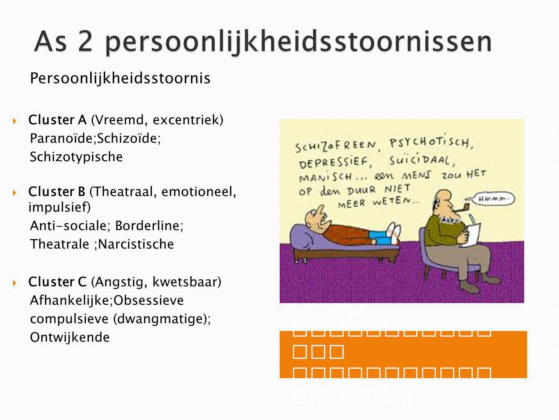 Vaak combinaties van stoornissen as 1 en 2 Persoonlijkheidsstoornis  Cluster A (Vreemd, excentriek) Paranoïde;Schizoïde; Schizotypische  Cluster B (Theatraal, emotioneel, impulsief) Anti-sociale; Borderline; Theatrale ;Narcistische  Cluster C (Angstig, kwetsbaar) Afhankelijke;Obsessieve compulsieve (dwangmatige); Ontwijkende