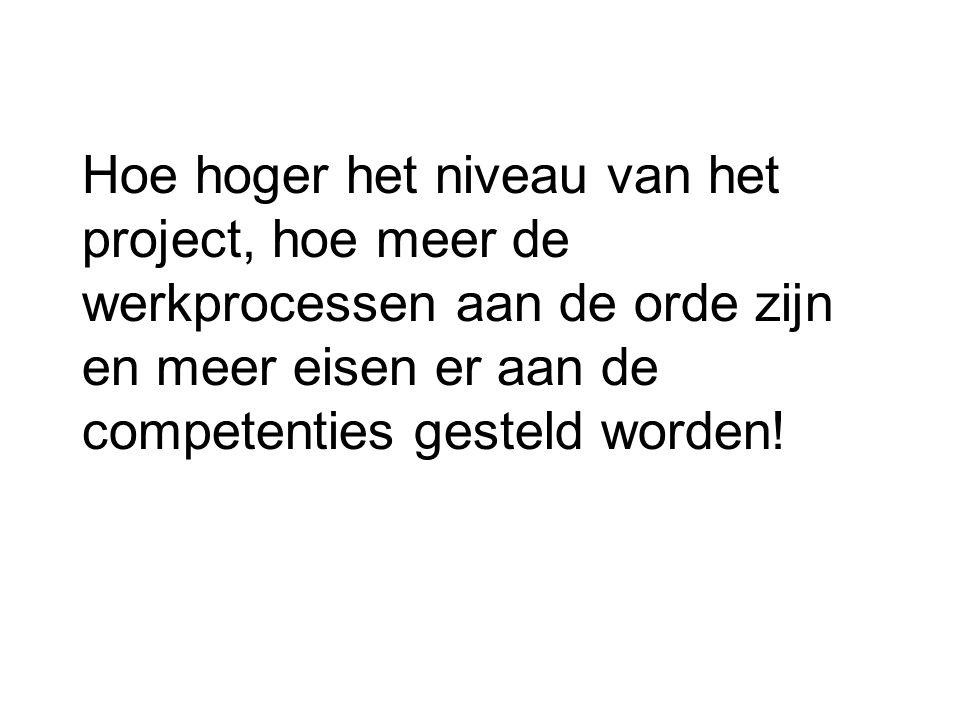 Hoe hoger het niveau van het project, hoe meer de werkprocessen aan de orde zijn en meer eisen er aan de competenties gesteld worden!