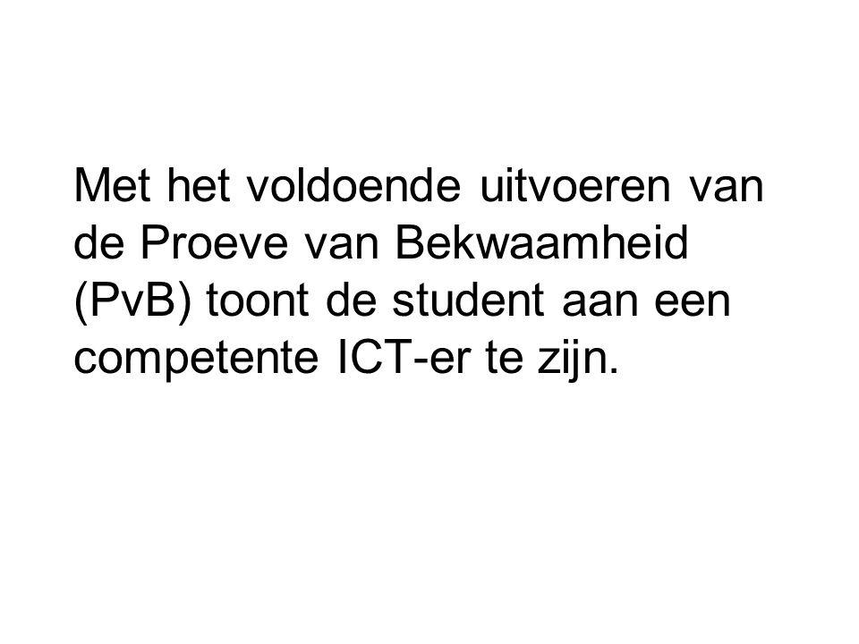 Met het voldoende uitvoeren van de Proeve van Bekwaamheid (PvB) toont de student aan een competente ICT-er te zijn.