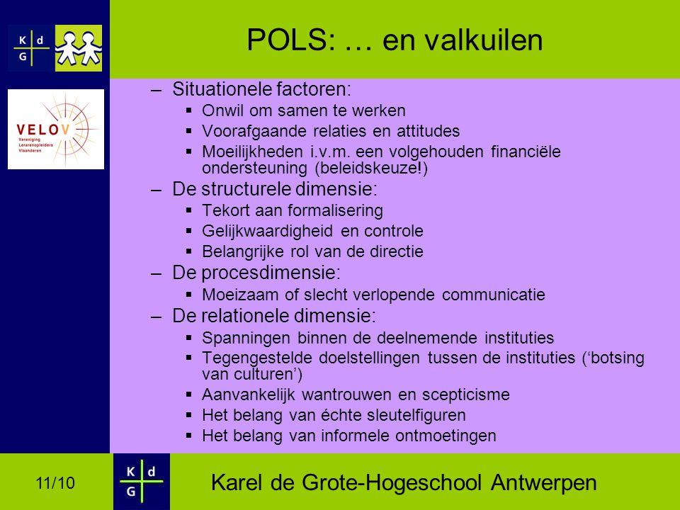 Karel de Grote-Hogeschool Antwerpen 11/10 POLS: … en valkuilen –Situationele factoren:  Onwil om samen te werken  Voorafgaande relaties en attitudes  Moeilijkheden i.v.m.