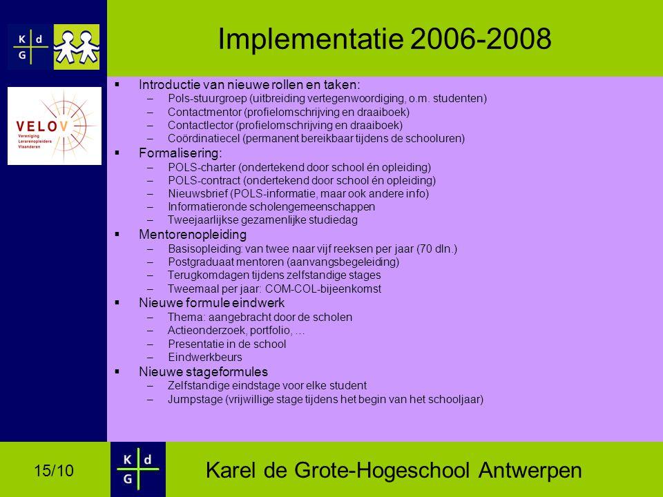 Karel de Grote-Hogeschool Antwerpen 15/10 Implementatie 2006-2008  Introductie van nieuwe rollen en taken: –Pols-stuurgroep (uitbreiding vertegenwoordiging, o.m.