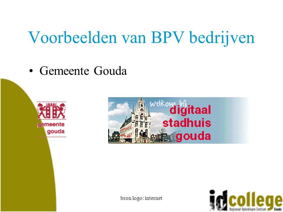bron logo: internet Voorbeelden van BPV bedrijven Gemeente Gouda
