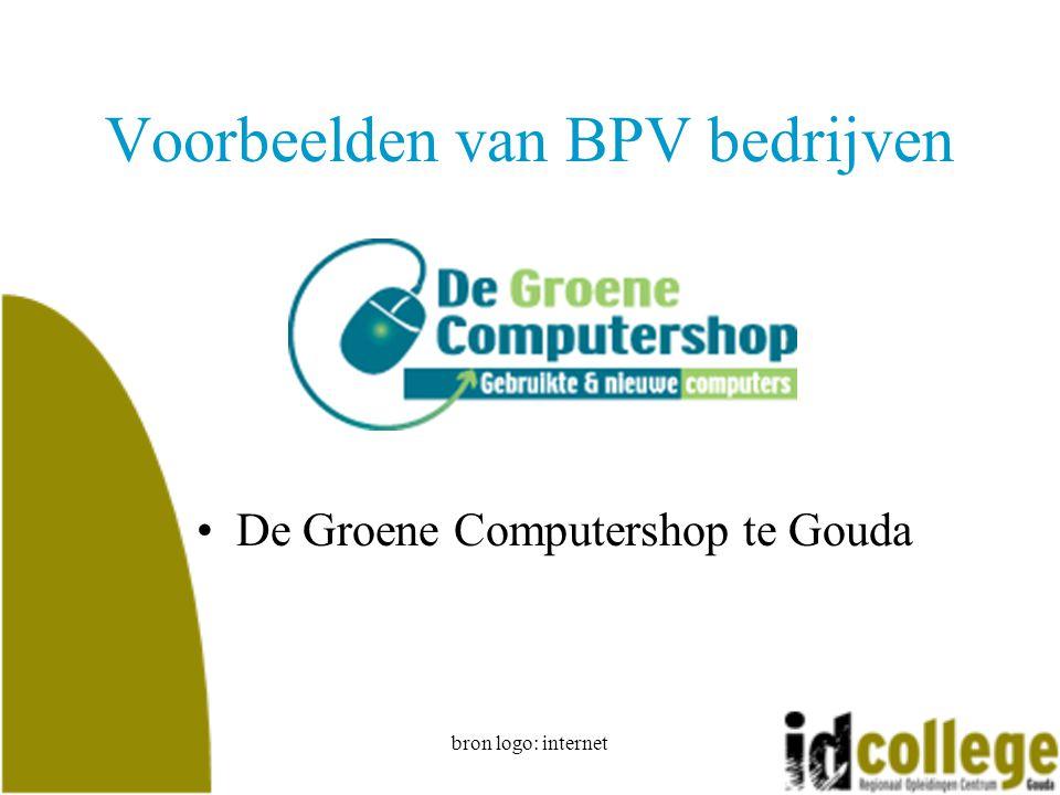 bron logo: internet Voorbeelden van BPV bedrijven De Groene Computershop te Gouda