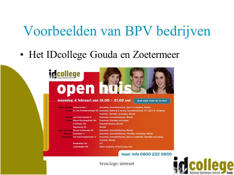 bron logo: internet Voorbeelden van BPV bedrijven Het IDcollege Gouda en Zoetermeer