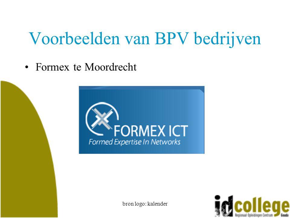 bron logo: kalender Voorbeelden van BPV bedrijven Formex te Moordrecht
