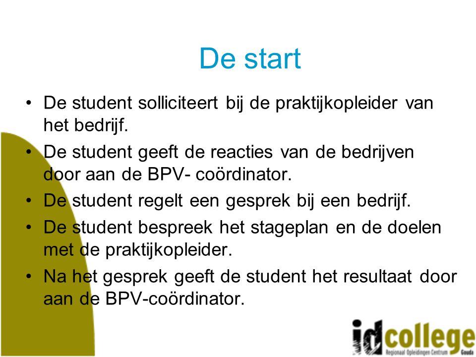 De start De student solliciteert bij de praktijkopleider van het bedrijf.