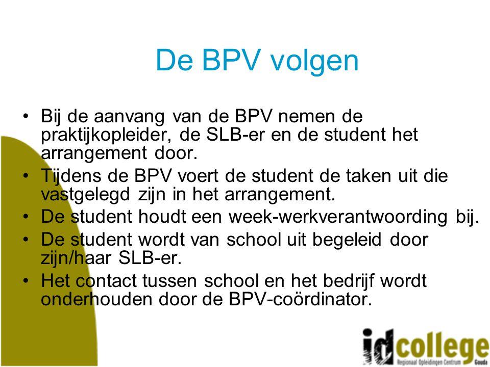 De BPV volgen Bij de aanvang van de BPV nemen de praktijkopleider, de SLB-er en de student het arrangement door.