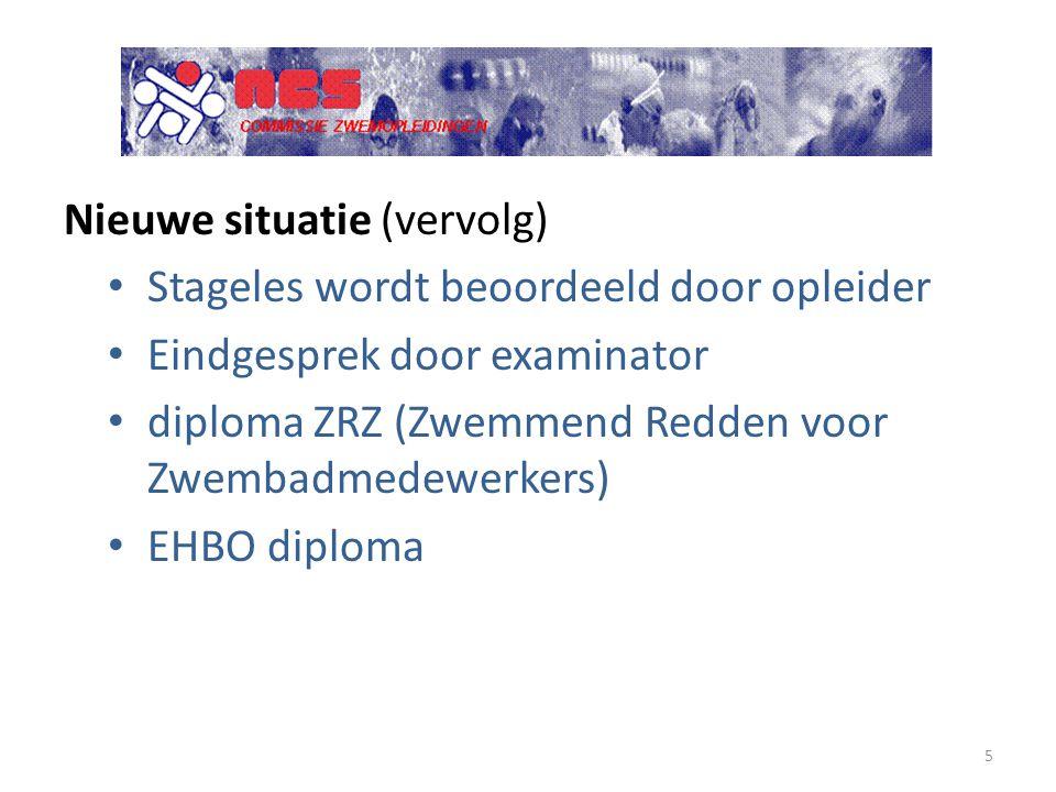 Nieuwe situatie (vervolg) Stageles wordt beoordeeld door opleider Eindgesprek door examinator diploma ZRZ (Zwemmend Redden voor Zwembadmedewerkers) EH