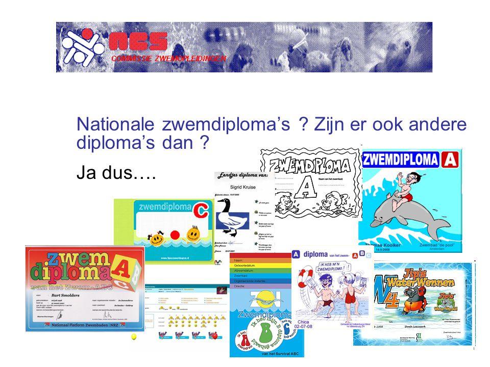 Nationale zwemdiploma's Zijn er ook andere diploma's dan Ja dus….