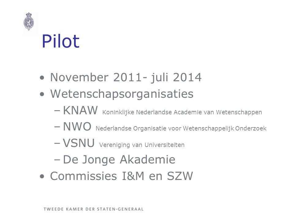 Pilot November 2011- juli 2014 Wetenschapsorganisaties –KNAW Koninklijke Nederlandse Academie van Wetenschappen –NWO Nederlandse Organisatie voor Wete