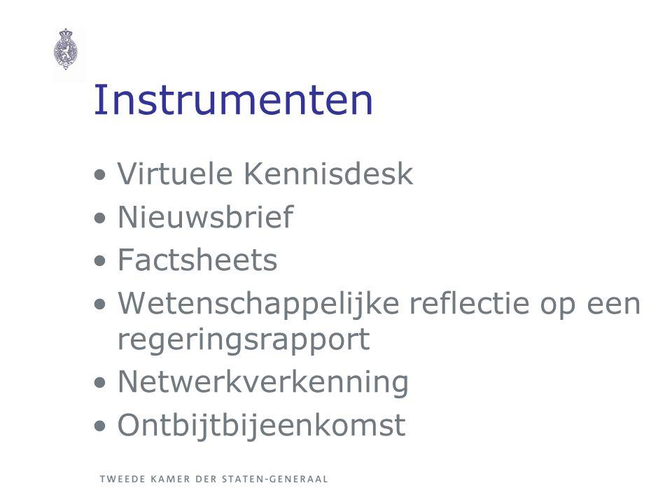 Instrumenten Virtuele Kennisdesk Nieuwsbrief Factsheets Wetenschappelijke reflectie op een regeringsrapport Netwerkverkenning Ontbijtbijeenkomst