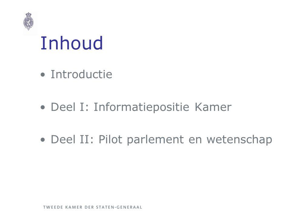 Inhoud Introductie Deel I: Informatiepositie Kamer Deel II: Pilot parlement en wetenschap