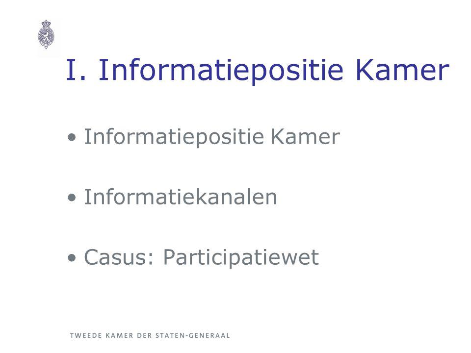 I. Informatiepositie Kamer Informatiepositie Kamer Informatiekanalen Casus: Participatiewet