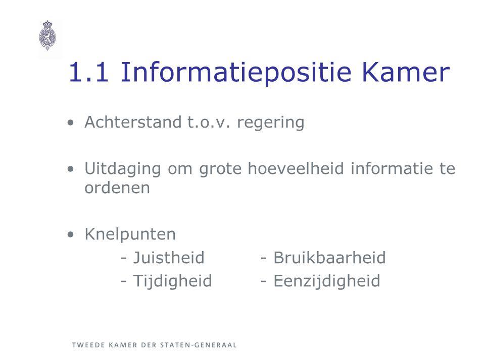 1.1 Informatiepositie Kamer Achterstand t.o.v. regering Uitdaging om grote hoeveelheid informatie te ordenen Knelpunten - Juistheid- Bruikbaarheid - T