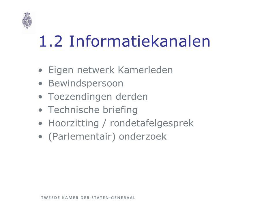 1.2 Informatiekanalen Eigen netwerk Kamerleden Bewindspersoon Toezendingen derden Technische briefing Hoorzitting / rondetafelgesprek (Parlementair) o