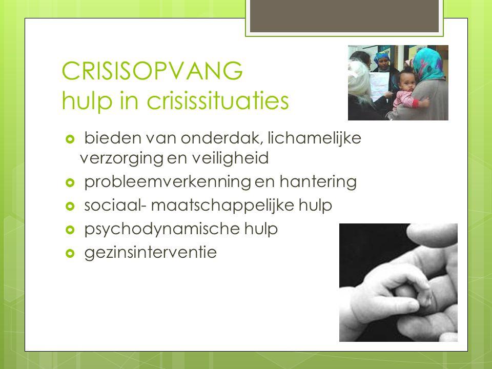 CRISISOPVANG hulp in crisissituaties  bieden van onderdak, lichamelijke verzorging en veiligheid  probleemverkenning en hantering  sociaal- maatschappelijke hulp  psychodynamische hulp  gezinsinterventie