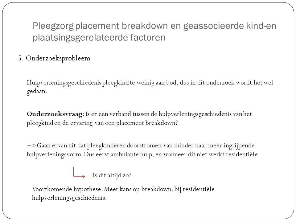 Pleegzorg placement breakdown en geassocieerde kind-en plaatsingsgerelateerde factoren 5. Onderzoeksprobleem Hulpverleningsgeschiedenis pleegkind te w