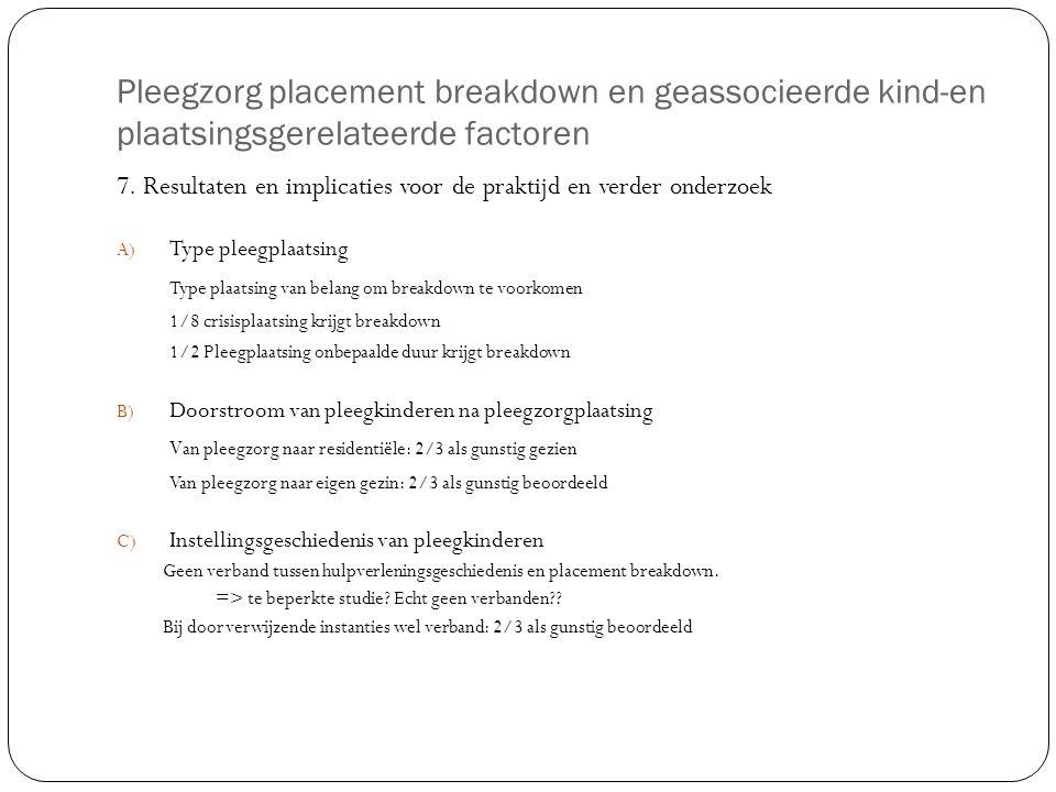 Pleegzorg placement breakdown en geassocieerde kind-en plaatsingsgerelateerde factoren 7. Resultaten en implicaties voor de praktijd en verder onderzo
