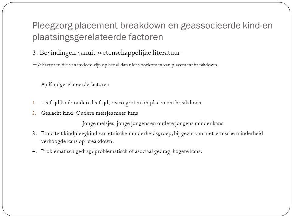 Pleegzorg placement breakdown en geassocieerde kind-en plaatsingsgerelateerde factoren 3. Bevindingen vanuit wetenschappelijke literatuur => Factoren