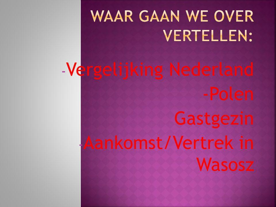 - Vergelijking Nederland -Polen - Gastgezin - Aankomst/Vertrek in Wasosz