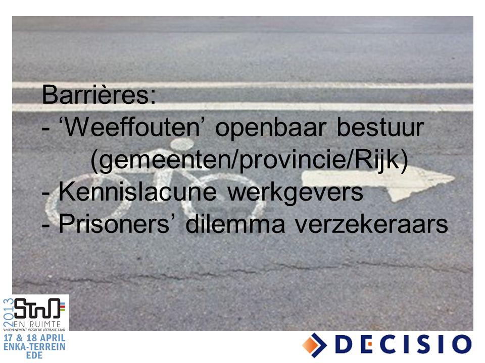 Barrières: - 'Weeffouten' openbaar bestuur (gemeenten/provincie/Rijk) - Kennislacune werkgevers - Prisoners' dilemma verzekeraars