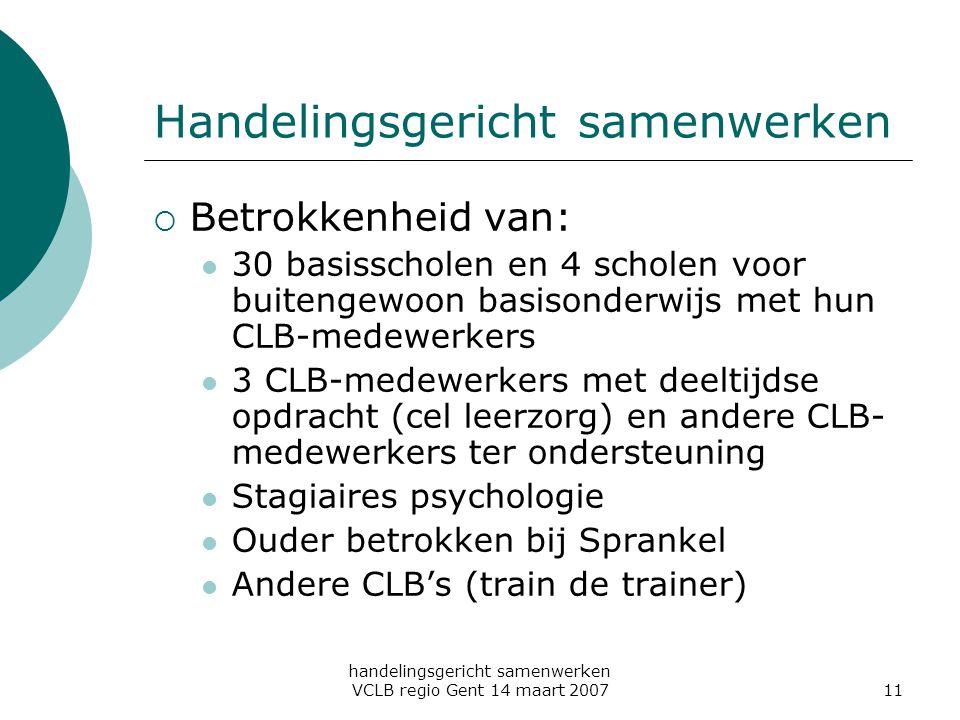 handelingsgericht samenwerken VCLB regio Gent 14 maart 200711 Handelingsgericht samenwerken  Betrokkenheid van: 30 basisscholen en 4 scholen voor bui
