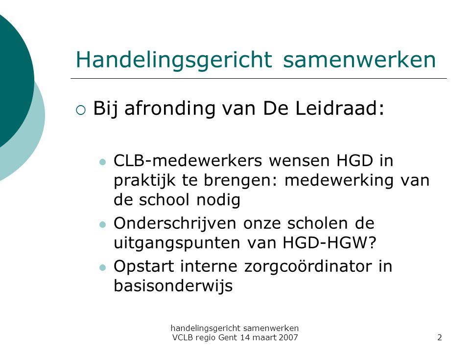 handelingsgericht samenwerken VCLB regio Gent 14 maart 20072 Handelingsgericht samenwerken  Bij afronding van De Leidraad: CLB-medewerkers wensen HGD