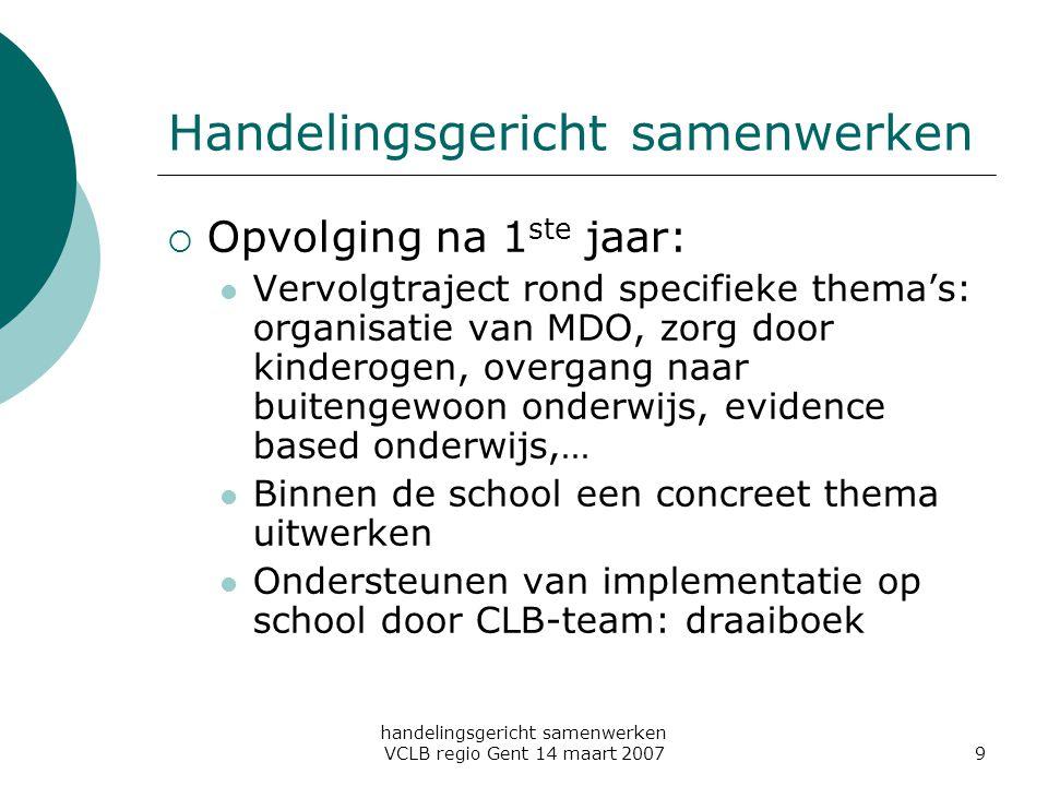 handelingsgericht samenwerken VCLB regio Gent 14 maart 20079 Handelingsgericht samenwerken  Opvolging na 1 ste jaar: Vervolgtraject rond specifieke t