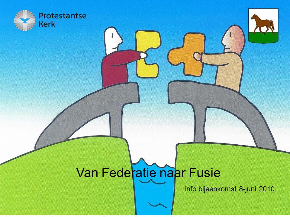 12 Stap 5, Besluit tot vereniging Maart 2011 Uitslag Gemeentevergadering Vaststellen door: Kerkenraadsvergadering Fusietraject