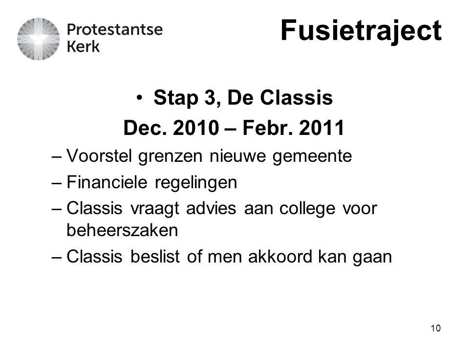 10 Stap 3, De Classis Dec. 2010 – Febr. 2011 –Voorstel grenzen nieuwe gemeente –Financiele regelingen –Classis vraagt advies aan college voor beheersz