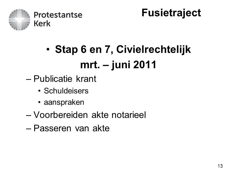 13 Stap 6 en 7, Civielrechtelijk mrt. – juni 2011 –Publicatie krant Schuldeisers aanspraken –Voorbereiden akte notarieel –Passeren van akte Fusietraje