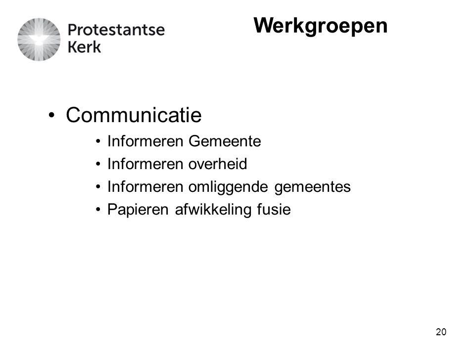 20 Werkgroepen Communicatie Informeren Gemeente Informeren overheid Informeren omliggende gemeentes Papieren afwikkeling fusie
